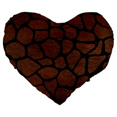 Skin1 Black Marble & Dull Brown Leather (r) Large 19  Premium Flano Heart Shape Cushions by trendistuff