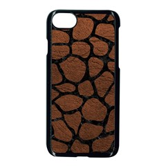 Skin1 Black Marble & Dull Brown Leather (r) Apple Iphone 8 Seamless Case (black)