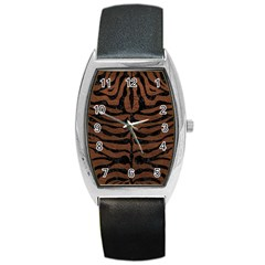Skin2 Black Marble & Dull Brown Leather Barrel Style Metal Watch