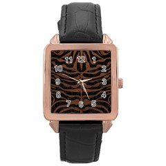 Skin2 Black Marble & Dull Brown Leather (r) Rose Gold Leather Watch  by trendistuff