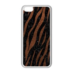Skin3 Black Marble & Dull Brown Leather (r) Apple Iphone 5c Seamless Case (white)