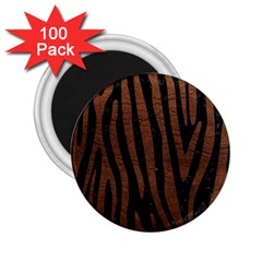 Skin4 Black Marble & Dull Brown Leather 2 25  Magnets (100 Pack)  by trendistuff