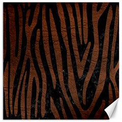 Skin4 Black Marble & Dull Brown Leather Canvas 12  X 12   by trendistuff