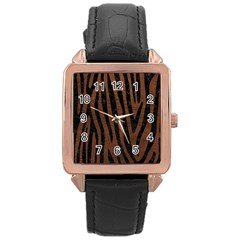 Skin4 Black Marble & Dull Brown Leather (r) Rose Gold Leather Watch  by trendistuff