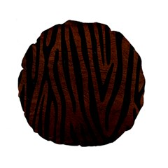 Skin4 Black Marble & Dull Brown Leather (r) Standard 15  Premium Flano Round Cushions by trendistuff
