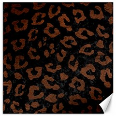 Skin5 Black Marble & Dull Brown Leather Canvas 20  X 20   by trendistuff