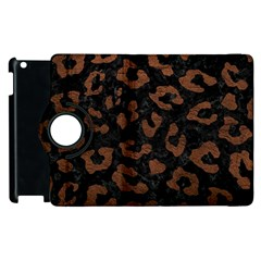 Skin5 Black Marble & Dull Brown Leather Apple Ipad 2 Flip 360 Case by trendistuff