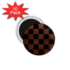 Square1 Black Marble & Dull Brown Leather 1 75  Magnets (10 Pack)  by trendistuff