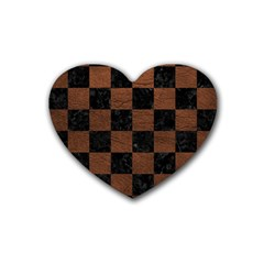 Square1 Black Marble & Dull Brown Leather Heart Coaster (4 Pack)