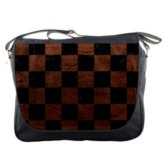 Square1 Black Marble & Dull Brown Leather Messenger Bags by trendistuff