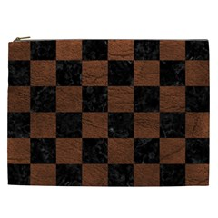 Square1 Black Marble & Dull Brown Leather Cosmetic Bag (xxl)  by trendistuff