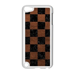 Square1 Black Marble & Dull Brown Leather Apple Ipod Touch 5 Case (white) by trendistuff