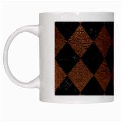 Square2 Black Marble & Dull Brown Leather White Mugs by trendistuff