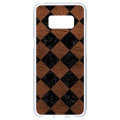 Square2 Black Marble & Dull Brown Leather Samsung Galaxy S8 White Seamless Case