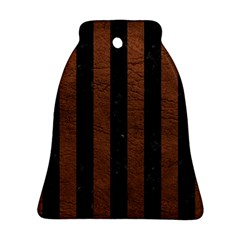 Stripes1 Black Marble & Dull Brown Leather Bell Ornament (two Sides) by trendistuff
