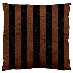Stripes1 Black Marble & Dull Brown Leather Large Cushion Case (one Side) by trendistuff