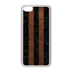Stripes1 Black Marble & Dull Brown Leather Apple Iphone 5c Seamless Case (white)