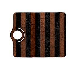 Stripes1 Black Marble & Dull Brown Leather Kindle Fire Hdx 8 9  Flip 360 Case by trendistuff