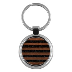 Stripes2 Black Marble & Dull Brown Leather Key Chains (round)