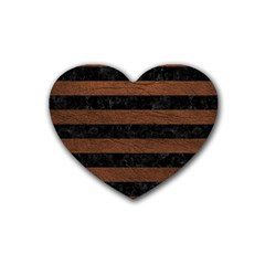 Stripes2 Black Marble & Dull Brown Leather Heart Coaster (4 Pack)