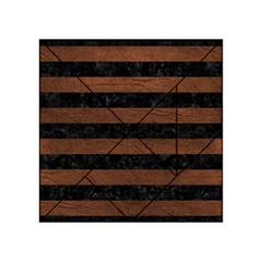 Stripes2 Black Marble & Dull Brown Leather Acrylic Tangram Puzzle (4  X 4 ) by trendistuff