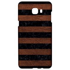 Stripes2 Black Marble & Dull Brown Leather Samsung C9 Pro Hardshell Case  by trendistuff