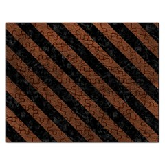 Stripes3 Black Marble & Dull Brown Leather Rectangular Jigsaw Puzzl by trendistuff
