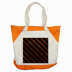 Stripes3 Black Marble & Dull Brown Leather Accent Tote Bag by trendistuff