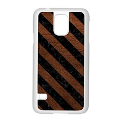 Stripes3 Black Marble & Dull Brown Leather Samsung Galaxy S5 Case (white) by trendistuff