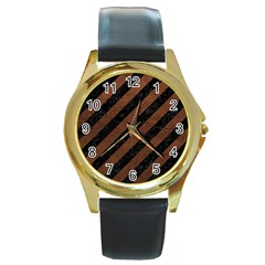 Stripes3 Black Marble & Dull Brown Leather (r) Round Gold Metal Watch by trendistuff