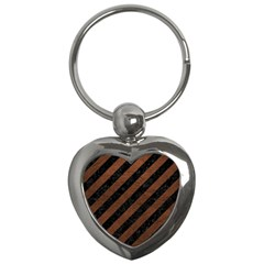 Stripes3 Black Marble & Dull Brown Leather (r) Key Chains (heart)
