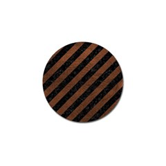 Stripes3 Black Marble & Dull Brown Leather (r) Golf Ball Marker (10 Pack) by trendistuff