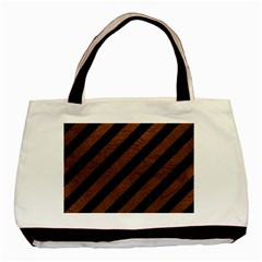 Stripes3 Black Marble & Dull Brown Leather (r) Basic Tote Bag by trendistuff