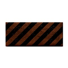Stripes3 Black Marble & Dull Brown Leather (r) Cosmetic Storage Cases by trendistuff