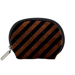 Stripes3 Black Marble & Dull Brown Leather (r) Accessory Pouches (small)  by trendistuff