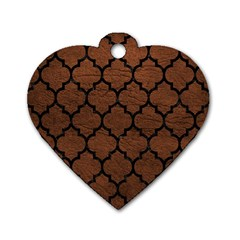 Tile1 Black Marble & Dull Brown Leather Dog Tag Heart (one Side) by trendistuff