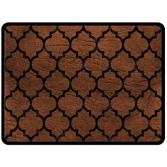 Tile1 Black Marble & Dull Brown Leather Double Sided Fleece Blanket (large)  by trendistuff
