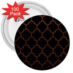 Tile1 Black Marble & Dull Brown Leather (r) 3  Buttons (100 Pack)  by trendistuff