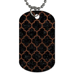 Tile1 Black Marble & Dull Brown Leather (r) Dog Tag (two Sides) by trendistuff
