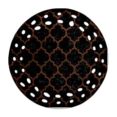 Tile1 Black Marble & Dull Brown Leather (r) Ornament (round Filigree) by trendistuff
