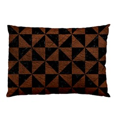 Triangle1 Black Marble & Dull Brown Leather Pillow Case (two Sides) by trendistuff
