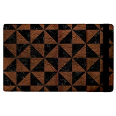 Triangle1 Black Marble & Dull Brown Leather Apple Ipad 3/4 Flip Case by trendistuff