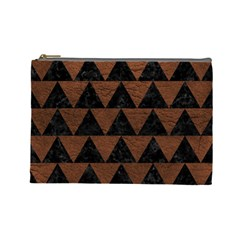 Triangle2 Black Marble & Dull Brown Leather Cosmetic Bag (large)  by trendistuff