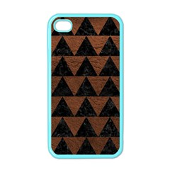 Triangle2 Black Marble & Dull Brown Leather Apple Iphone 4 Case (color) by trendistuff
