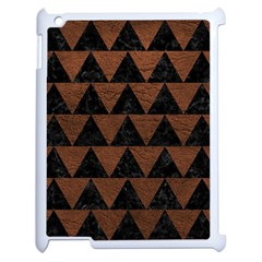 Triangle2 Black Marble & Dull Brown Leather Apple Ipad 2 Case (white) by trendistuff