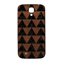 Triangle2 Black Marble & Dull Brown Leather Samsung Galaxy S4 I9500/i9505  Hardshell Back Case by trendistuff