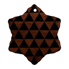 Triangle3 Black Marble & Dull Brown Leather Snowflake Ornament (two Sides) by trendistuff