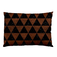 Triangle3 Black Marble & Dull Brown Leather Pillow Case (two Sides) by trendistuff