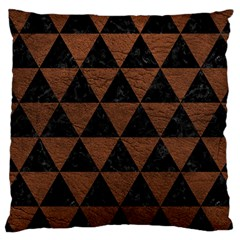 Triangle3 Black Marble & Dull Brown Leather Large Cushion Case (two Sides) by trendistuff