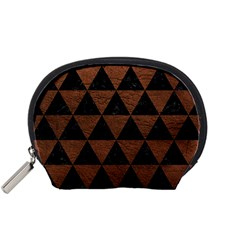 Triangle3 Black Marble & Dull Brown Leather Accessory Pouches (small)  by trendistuff